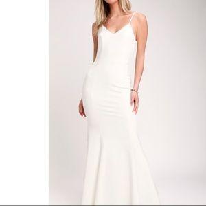 Lulus Taliana White Lace Button Back Maxi Dress